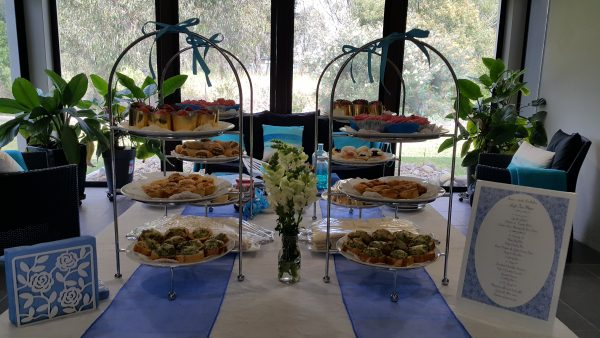 royal blue and white high tea